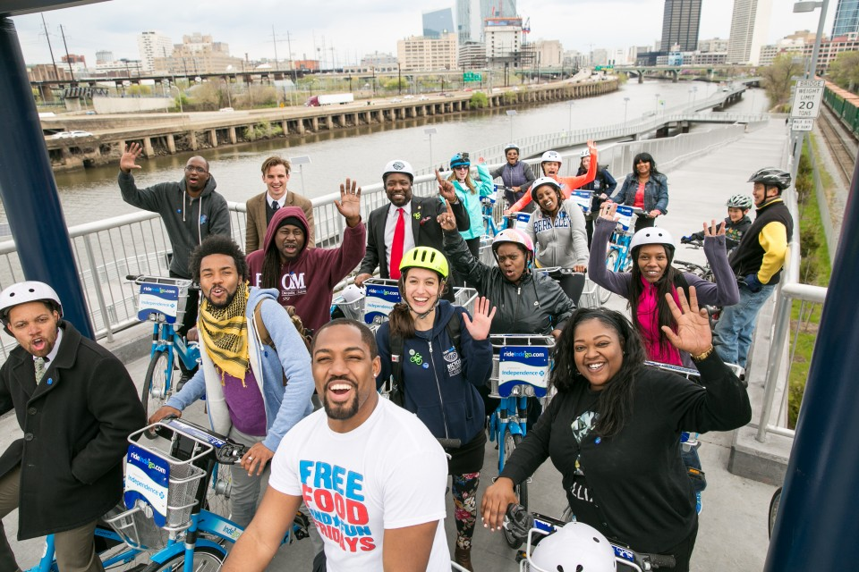 Katie Monroe with the Bicycle Coalition of Greater Philadelphia poses for a photo during the Indego launch event.