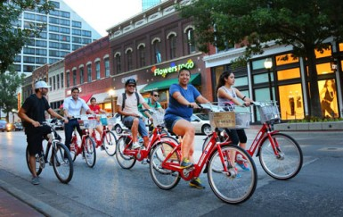For outreach, Fort Worth B-Cycle partners with existing events