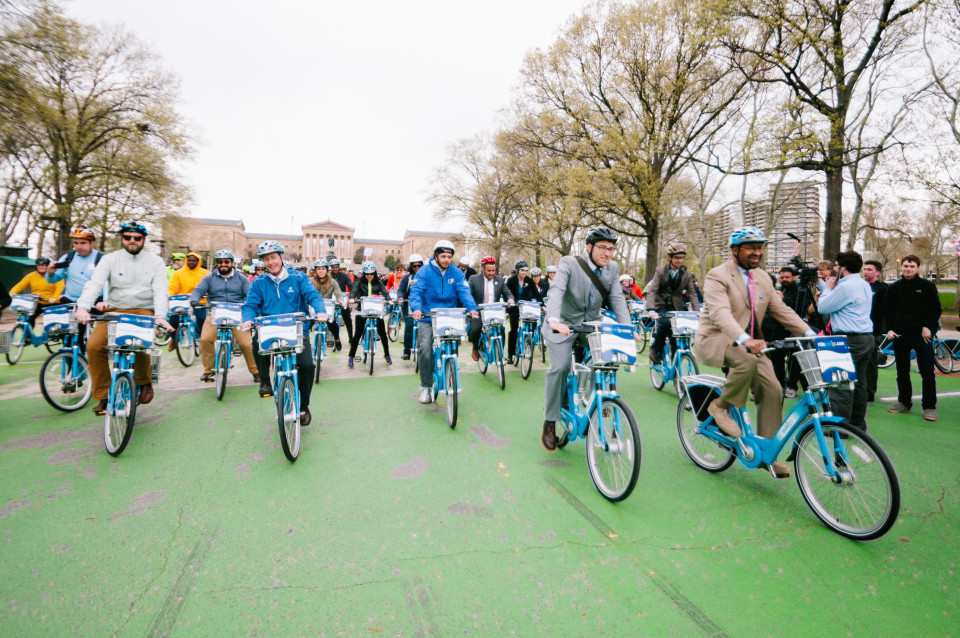 A shot from the launch of Indego bike share in Philadelphia. Photo by Darren Burton.