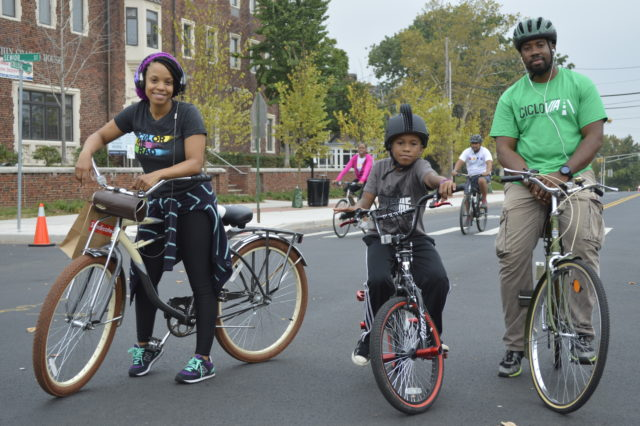 Black family on bikes