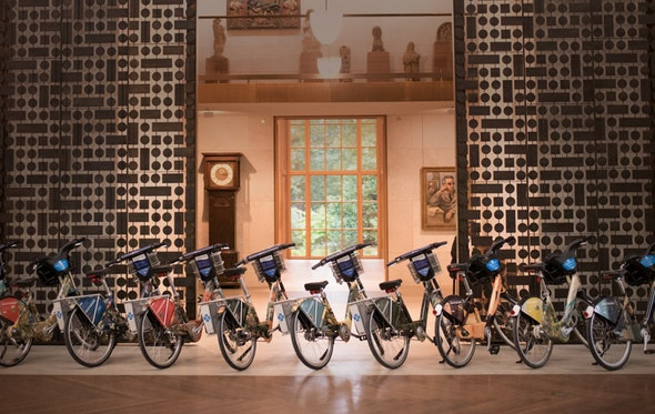 Suite of Barnes-wrapped Indego bikes