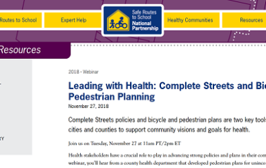 Safe Routes National Partnership connects public health to Complete Streets