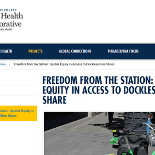 Drexel releases research on free-floating bike share and disadvantaged communities