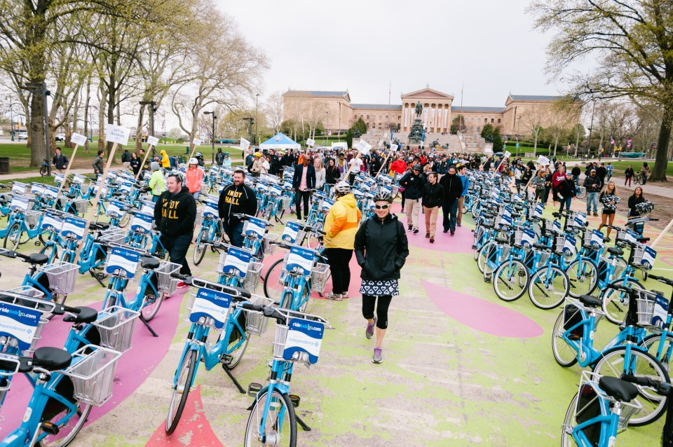 The Indego bike share launch in Philadelphia. Photo by Darren Burton.