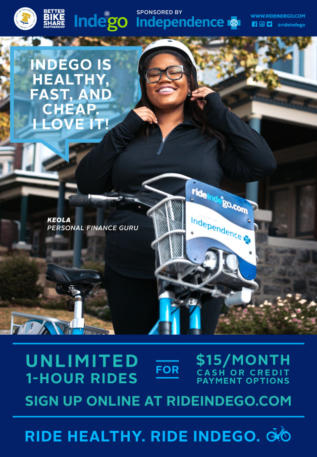 "Keola Harrington was featured in Indego's ""Faces of Indego"" campaign, which highlighted real users of the system."