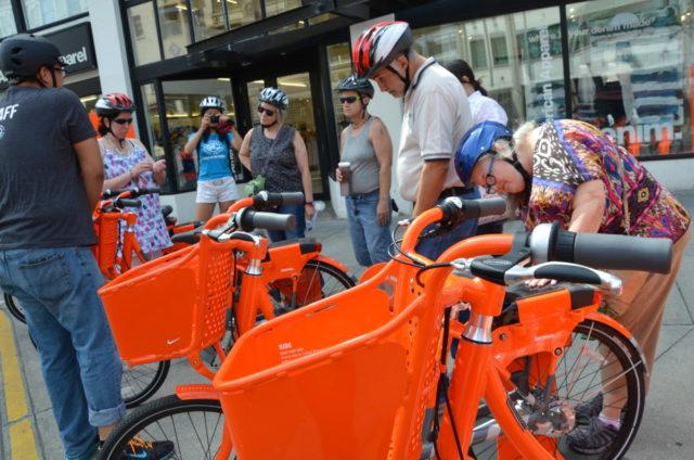examining bikes