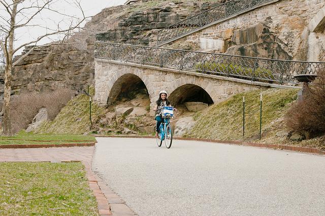 Indego rider on path