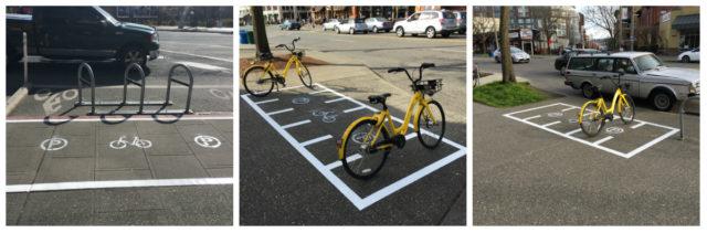 Seattle dockless bike parking collage