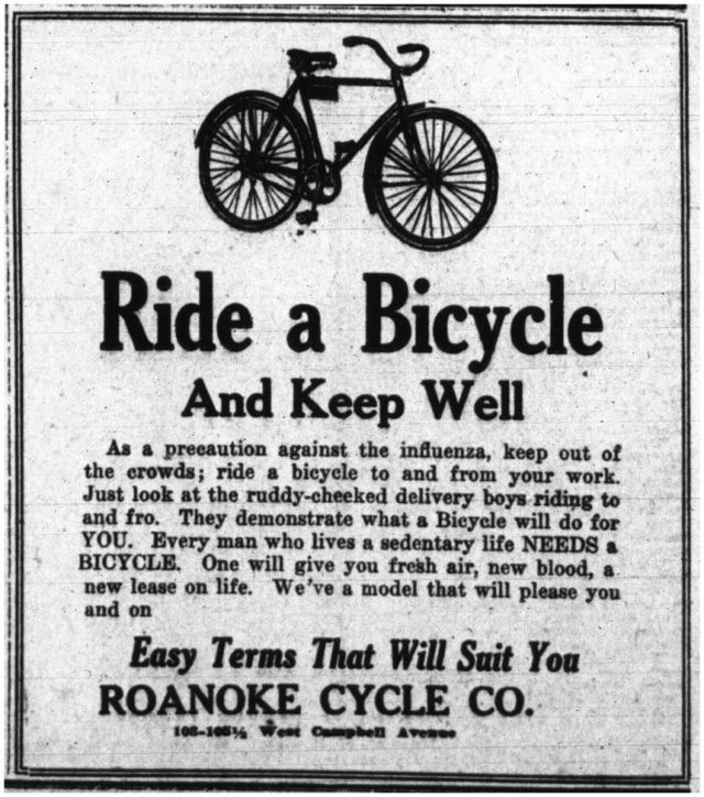An ad from 1918 noting that bicycling is a great cautionary measure against the Spanish influenza.