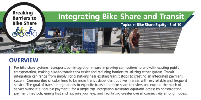 A screenshot of PSU's Integrating Bike Share and Transit 2-pager