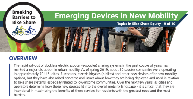 A screenshot of PSU's Emerging Devices in New Mobility 2-pager